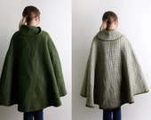 Vintage Wool Cape - Reversible Dark Olive Green and White Coat Autumn Fall Fashion