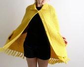 Vintage Knit Cape Poncho Shawl Bumblebee Yellow Thick Tassel Fringe