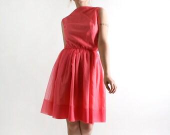 Vintage 1960s Mini Dress - Coral Pink Chiffon Cocktail Dress - XS Small