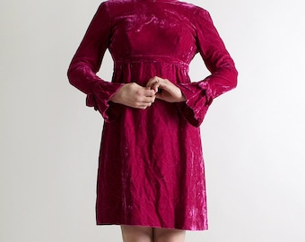 Vintage 1960s Velvet Dress - Emma Domb Plum Purple Twiggy Dress - Small