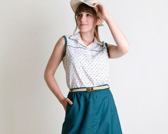 1970s Blouse and Skirt Set - Vintage Sporty Preppy Sleeveless Tank and Skort Shorts - Large