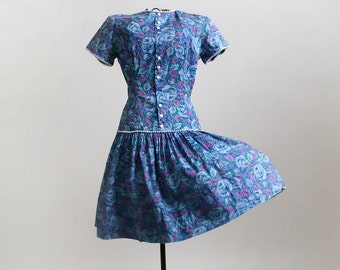 1960s Floral Dress - Vintage Drop Waist Day Dress - XXS or Teen