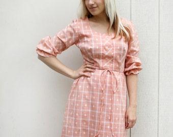 Vintage Prairie Dress - Alice Of California Peach Pink Plaid Maxi Dress - Medium Spring Fashion