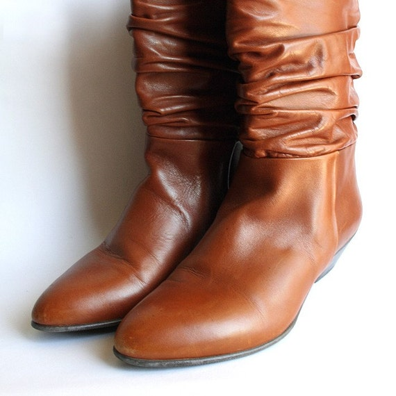 Vintage Caramel Brown Leather Slouch Boots Size 7