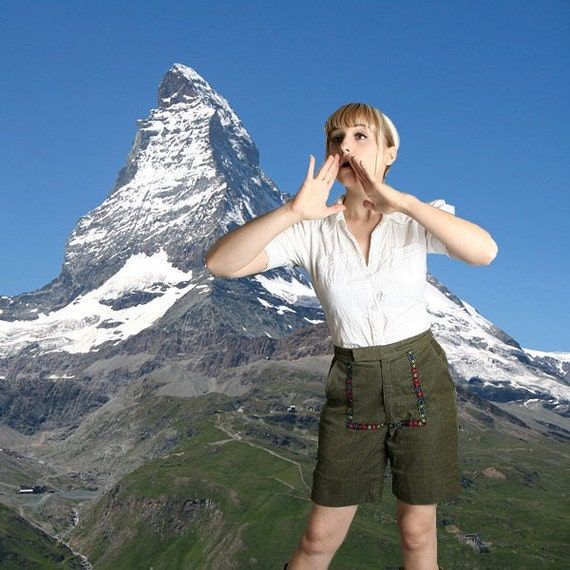 Vintage Bavarian Shorts Pair Of Swiss Alps Yodeling Shorts - Medium Oktoberfest - Halloween Costume