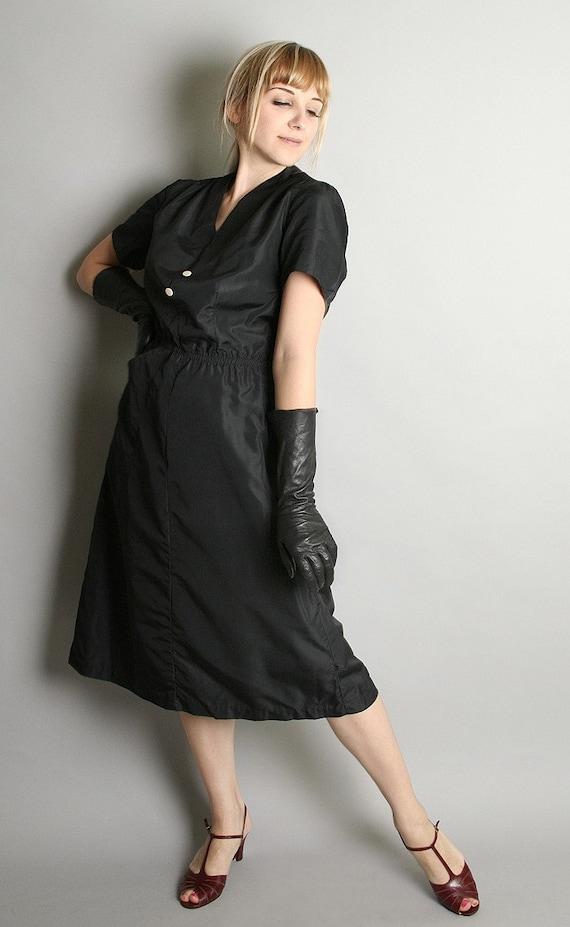 Vintage Nurse Dress Black Nylon Nurse Style Costume Dress