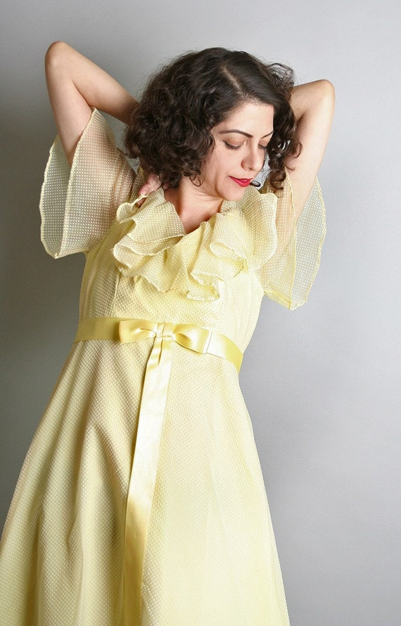 Light Pastel Lemon Yellow vintage Polka Swiss Dot Maxi Flutter Gown - Small