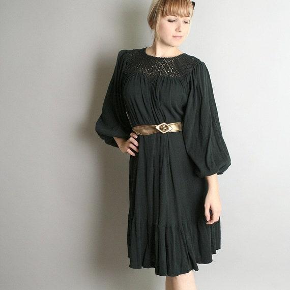 Vintage Black Cotton Boho Loose Lounge Dress - Fits Most Sizes