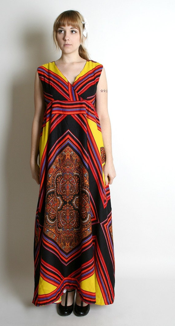 Vintage Tribal Dress Bright and Colorful Hippie Maxi Gown Large XL