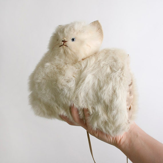 Delicate Vintage Cream White Rabbit Fur Kitten Muff