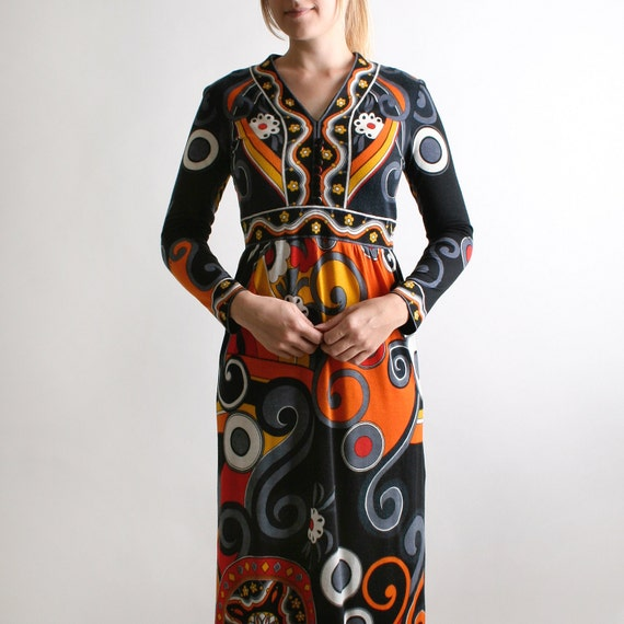 1970s Psychedelic Maxi Dress Paganne by Gene Berk I. Magnin Autumn Orange and Black - Medium