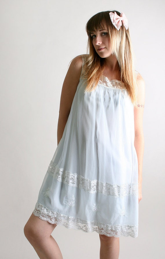 Vintage Babydoll Lingerie Slip Dress Ice Blue And White By