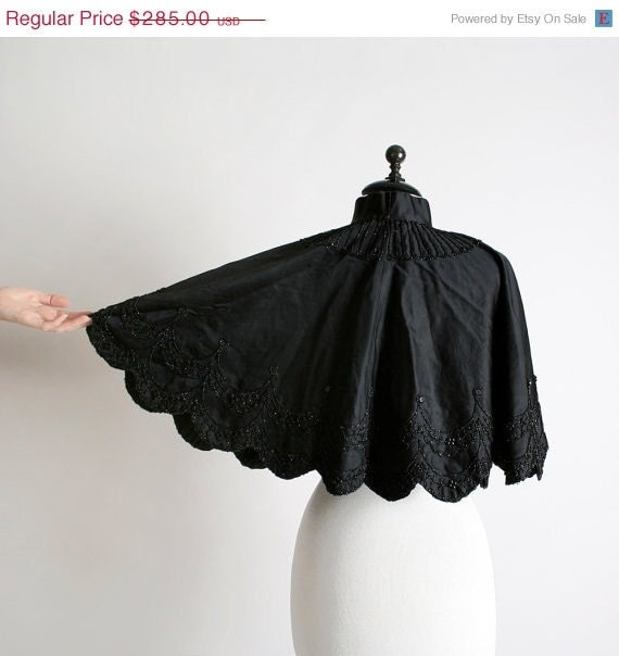 Antique Victorian Cape - Jet Black Midnight Beaded Capelet