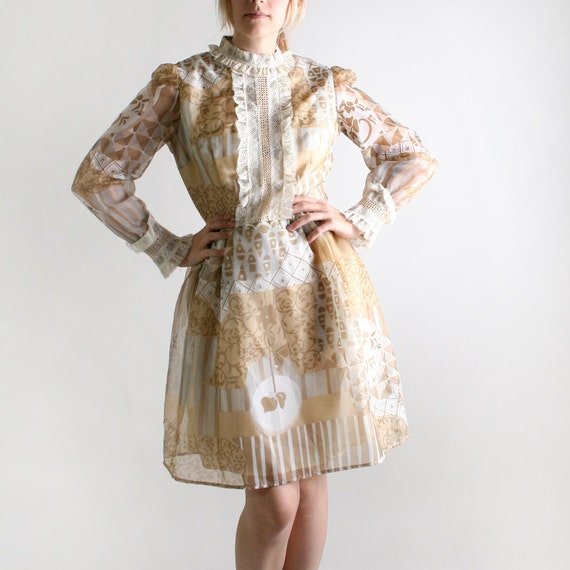 1960s Vintage Mini Dress - Nougat Quarry and White - Sheer Long Sleeve - Large