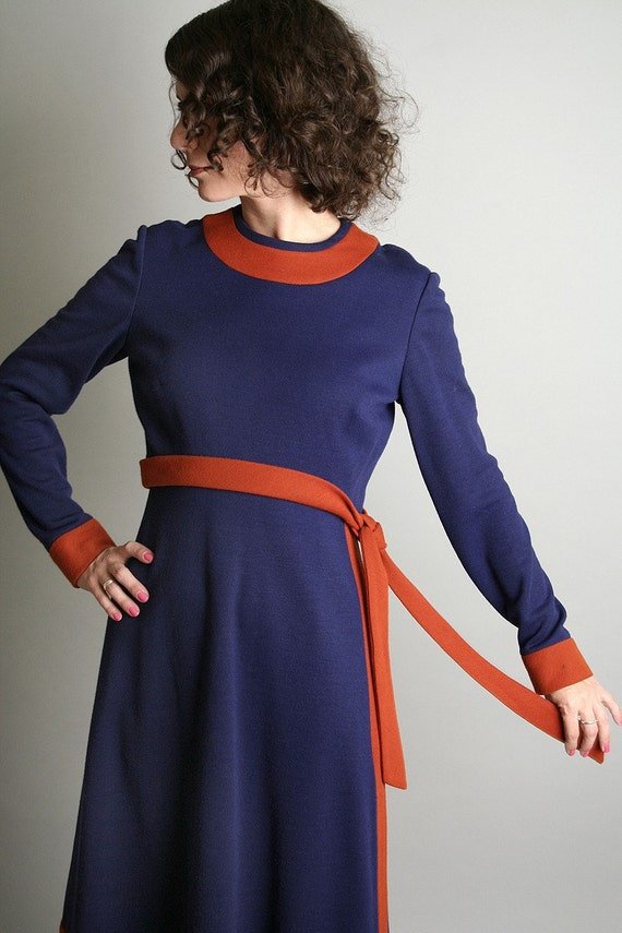 Late 1960s Dress vintage Anne Fogarty Navy Blue and Tangerine Dress Sodalite Indigo