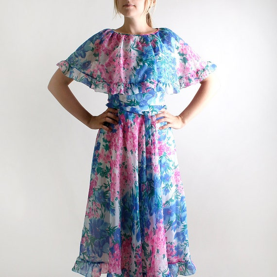 Vintage 1970s Maxi Dress - Floral Print in Cotton Candy Pink and Sky Blue - Small Spring Fashion
