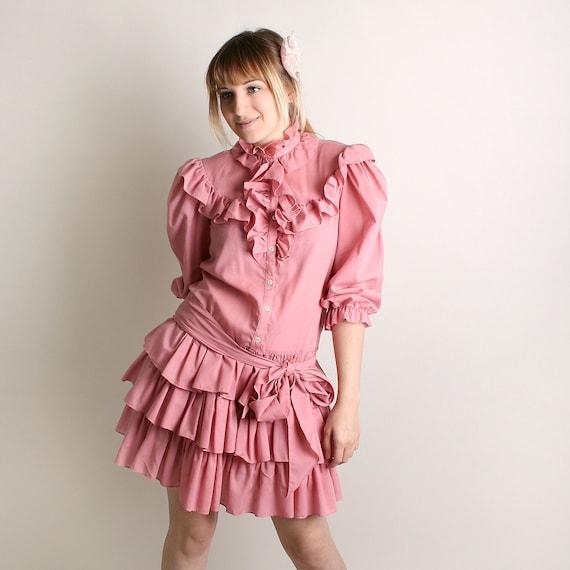 Vintage Ruffle Dress Cotton Candy Pink 1980s Flirty Fun Triple Tuxedo Dolly Dress - Medium