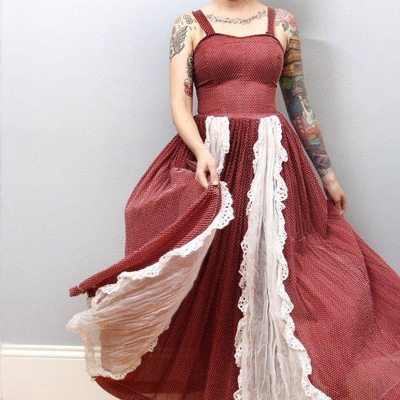 Vintage Prairie Dress Maroon and White Western Maxi Americana
