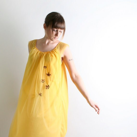 Vintage BEE Nightie - Honey Mustard Yellow Babydoll Nightgown Slip