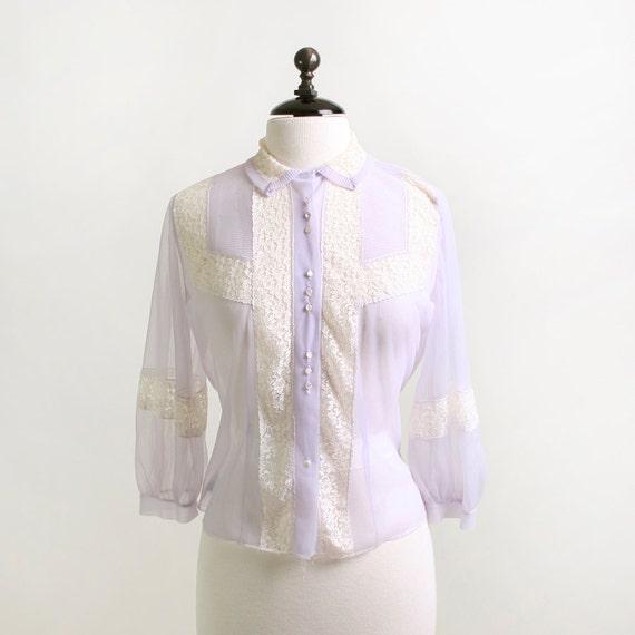 Vintage Lace Blouse - Pastel Lavender and White Spring Top - Medium