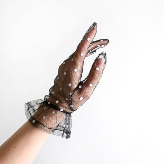 Vintage Polka Dot Gloves - Sheer Black and White - Medium