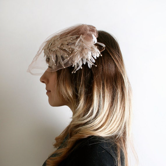 Vintage Flower Hat - Cocoa Brown Veiled Bridal Hat