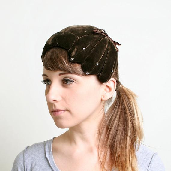 Vintage Velvet Hat - Dark Chocolate Brown Rhinestone Cap