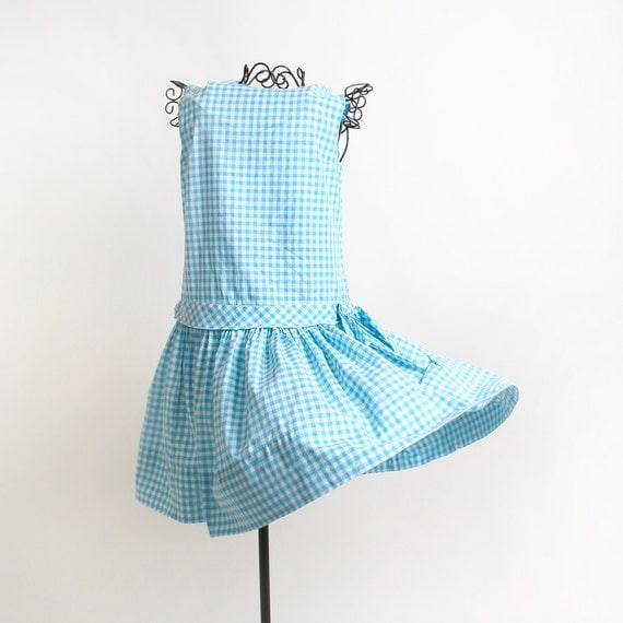 1960s Gingham Dress - Mini Sky Blue and White Handmade in a 1920s Style - XS or Teen Kids