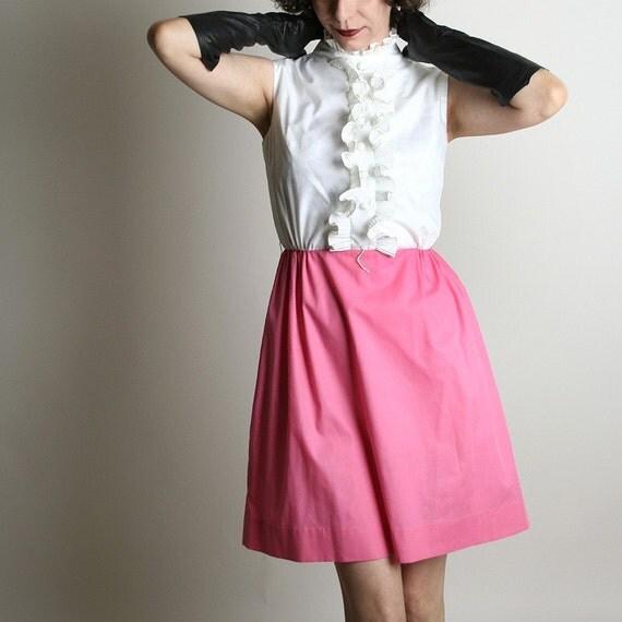 Mini Tuxedo Dress Ice Cream Pink & White Vintage - xs extra small