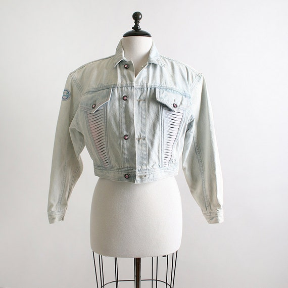 1980s LA Gear Jean Jacket - Acid Wash Denim Light White - Fits Small