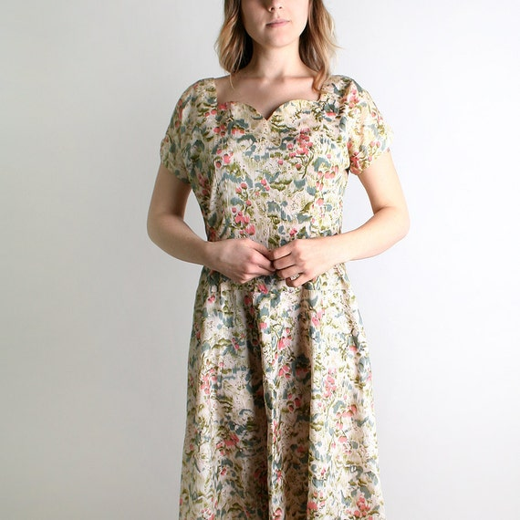 1950s Day Dress - Vintage Floral Print Watercolor Spring Fashion Dress - Large