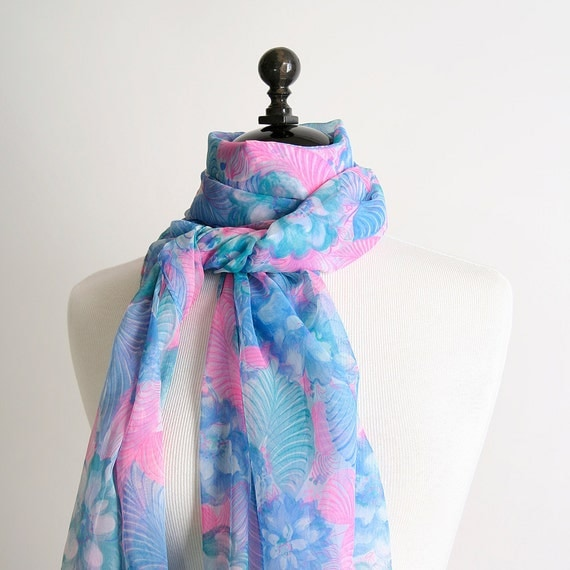 Vintage Floral Scarf - Sky Blue and Neon Pink Sheer Extra Long