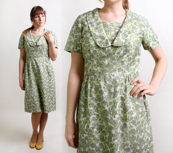 Vintage Floral Dress - 1960s Cotton Day Dress in Mint Clover Green - Large - Spring