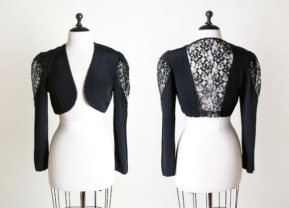 1980s Lace Cropped Coat - Sheer Black Vintage Punk Rock Crop Top - Medium
