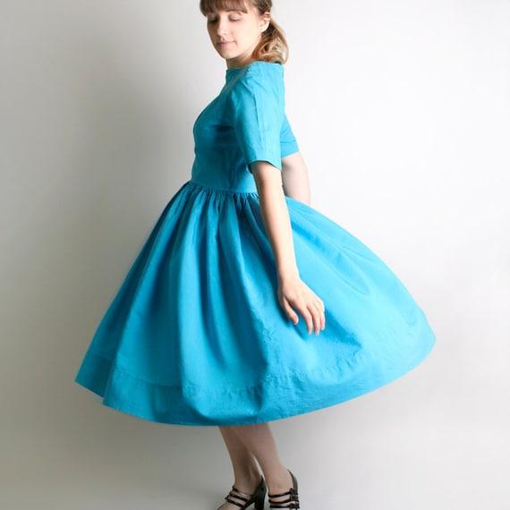 1950s Day Dress - Vintage Handmade Bright Sky Blue Teal Classic Dress - Medium to Large