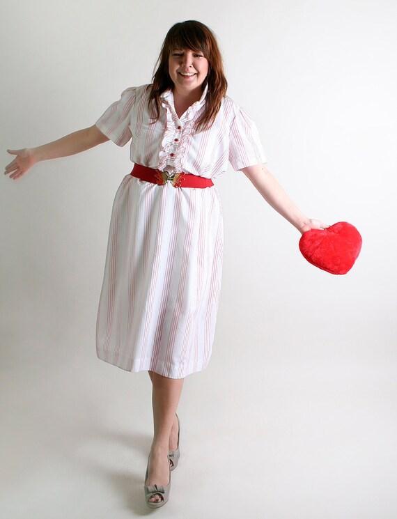 Vintage Pin Striped Dress - Cutie Pie - White Tuxedo Ruffle Day Dress