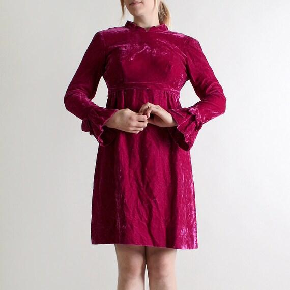 Vintage 1960s Velvet Dress - Emma Domb Plum Purple Twiggy Dress - Small