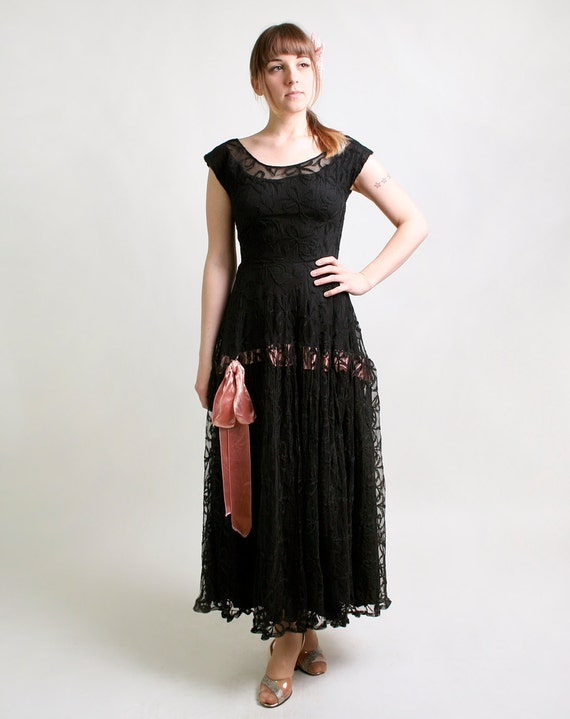 RESERVED - Vintage Lace Dress - Black 1930s Illusion Ribbon Bow Prom Gown - Small to Medium Homecoming Queen