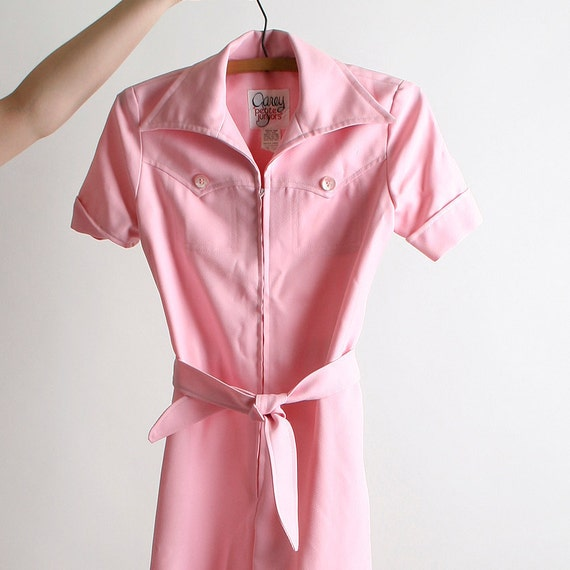 Vintage Western Jumpsuit in Pastel Bubblegum Pink XXS Teens Kids Charlies Angels