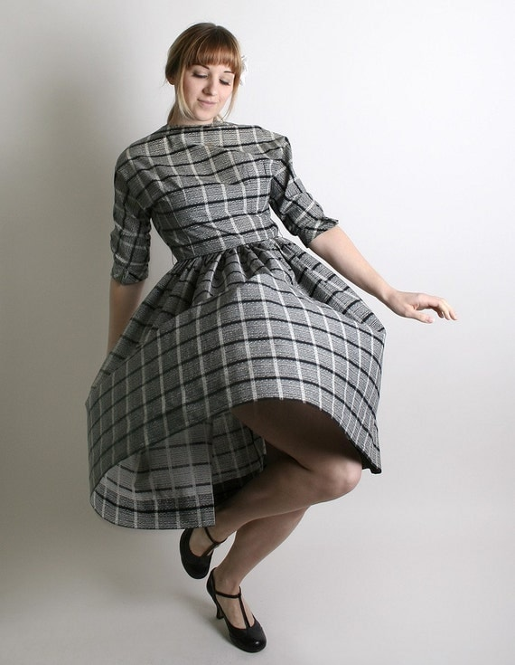 1950s Dress Plaid Vintage Black and White Casual Plaid Day Dress - Medium - Atomic Mid Century