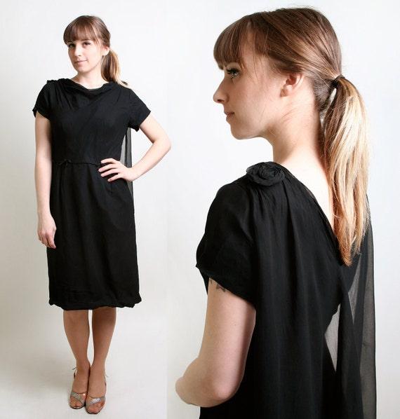 1960s Cocktail Dress - Sheer Fashion Chiffon Caped Evening Dress - Large
