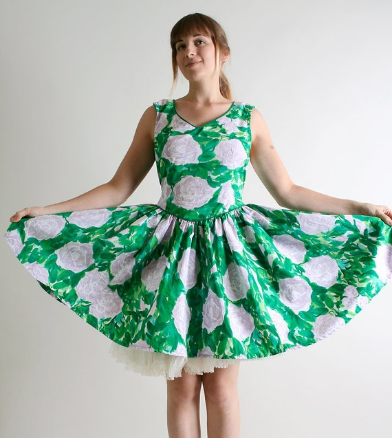 Vintage Floral Print Dress - Emerald Green and Lavender Mini Dress - Large XL Summer Fashion