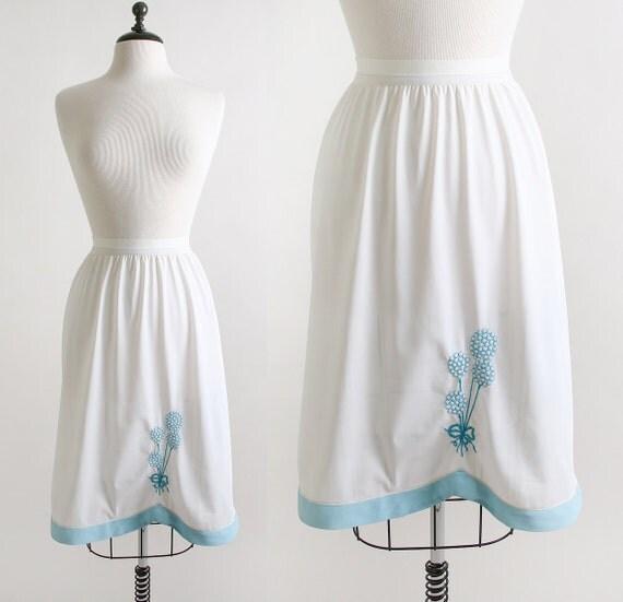 Balloons Half Slip Vintage Sky Blue Embroidered Skirt