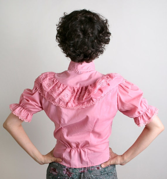Vintage Prairie Blouse Bubblegum Pink Ruffle - XS Small Spring Style