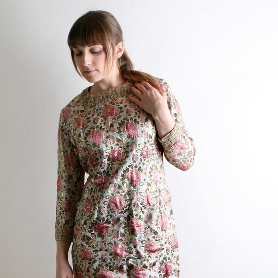 Vintage Floral Metallic Dress - Golden Flower Garden Party Dress - Medium christmasinjuly cij sale