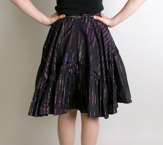 Vintage Country Skirt - Rainbow Metallic Striped Dolly Skirt in Black - 28 inch waist
