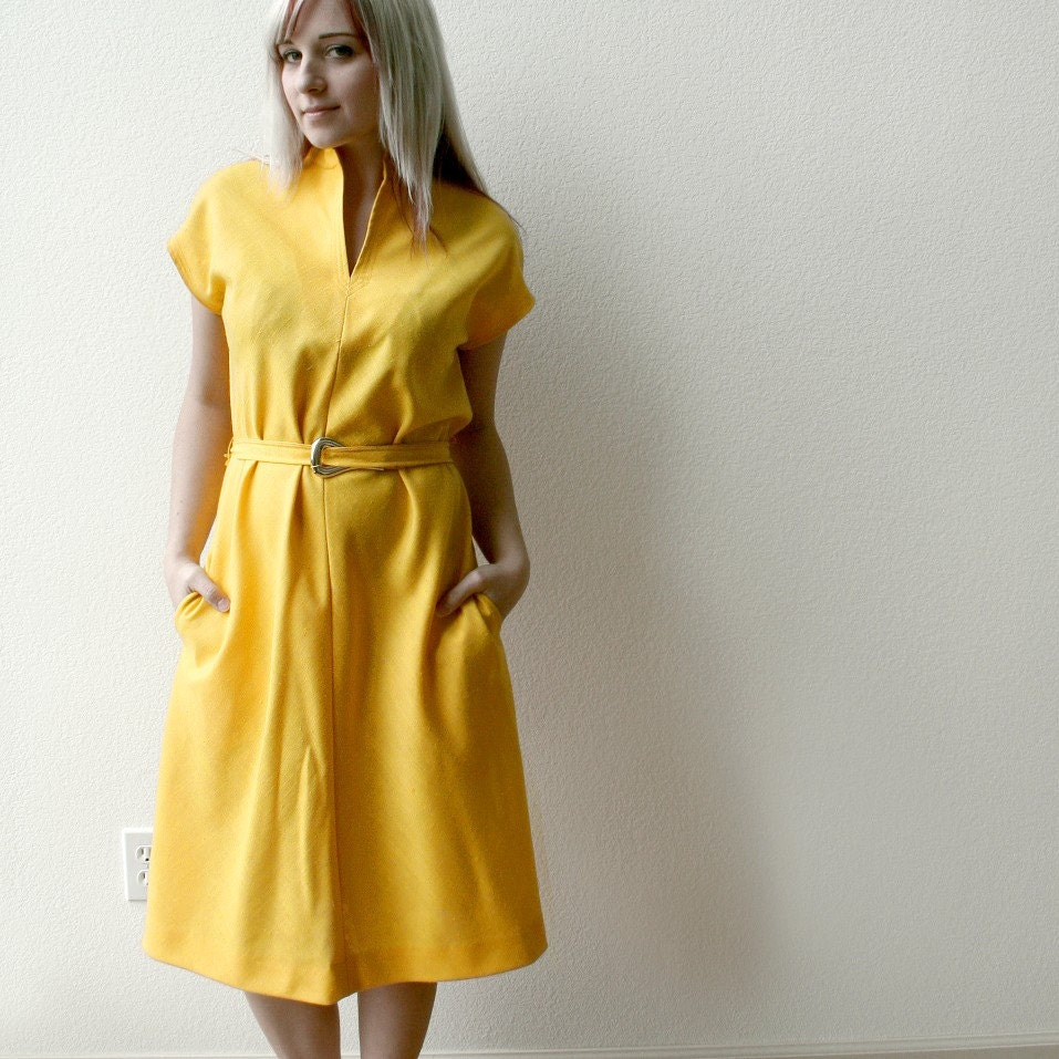Mustard Yellow Vintage Linen Dress Simple And Casual Large
