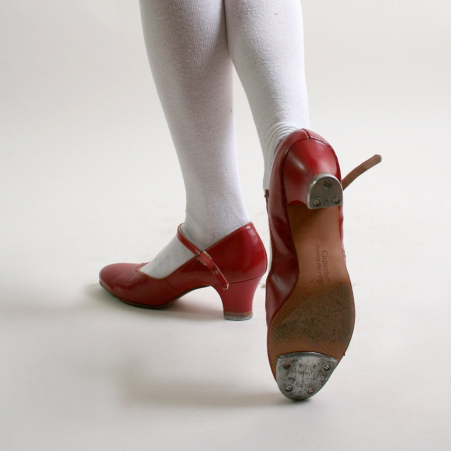 Vintage Tap Shoes Capezio Cherry Red Heels size 6 1/2 by zwzzy