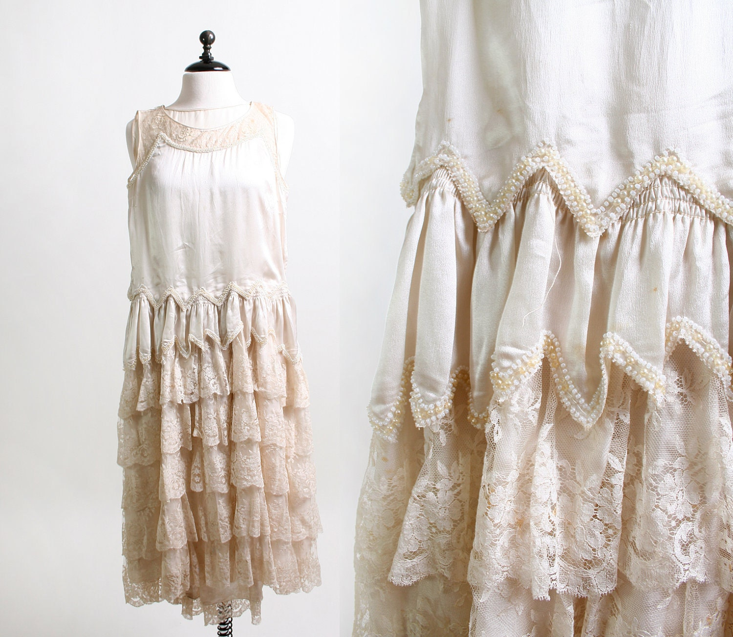 Vintage 1920s Wedding Dress Cream Lace And Faux Pearl By Zwzzy
