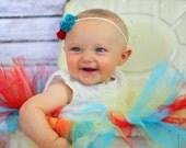Skinny Elastic Double Felt Flower Headband Newborn, Infant, Children Teen Adult